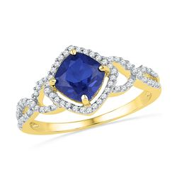 Genuine 1.10 CTW Sapphire & Diamond Ladies Ring 10KT Yellow Gold - GD101172-REF#28R8H