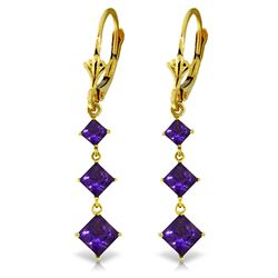 Genuine 4.79 ctw Amethyst Earrings Jewelry 14KT Yellow Gold - GG-1540-REF#50X2M