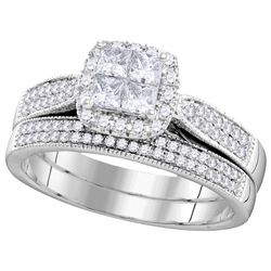 Genuine 0.75 CTW Diamond Bridal Set Ring 14KT White Gold - GD106282-REF#125M9F