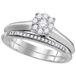 Natural 0.33 ctw Diamond Bridal Set Ring 10K White Gold - GD109776-REF#40G5W