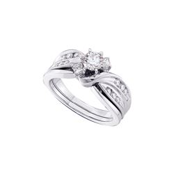Natural 0.88 ctw Diamond Bridal Set Ring 14K White Gold - GD45786-REF#152F8M