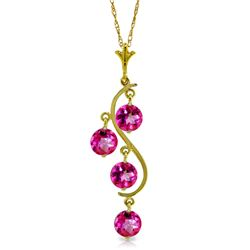 Genuine 2.25 ctw Pink Topaz Necklace Jewelry 14KT Yellow Gold - GG-2030-REF#30F9Z