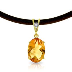 Genuine 7.56 ctw Citrine & Diamond Necklace Jewelry 14KT Yellow Gold - GG-4131-REF#35N5R