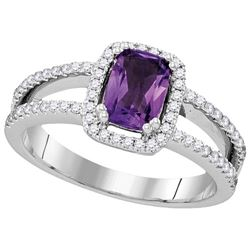 Genuine 0.95 CTW Amethyst & Diamond Ladies Ring 14KT White Gold - GD104984-REF#95G3M