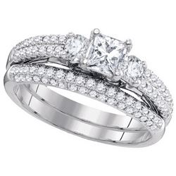 Natural 1.20 ctw Diamond Bridal Set Ring 14K White Gold - GD86563-REF#243T2Z