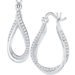 Genuine 0.50 CTW Diamond Hoop Earrings 10KT White Gold - GD108525-REF#62G9M