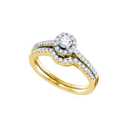 Natural 0.50 ctw Diamond Bridal Set Ring 14K Yellow Gold - GD67267-REF#98G8W