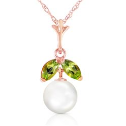 Genuine 2.2 ctw Pearl & Peridot Necklace Jewelry 14KT Rose Gold - GG-2495-REF#16X9M