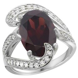Natural 7.24 ctw garnet & Diamond Engagement Ring 14K White Gold - SC-R308101W10-REF#144G3M