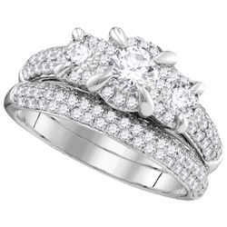 Natural 1.33 ctw Diamond Bridal Set Ring 14K White Gold - GD106288-REF#243W2H