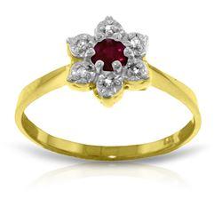 Genuine 0.23 ctw Ruby & Diamond Ring Jewelry 14KT Yellow Gold - GG-2332-REF#30P6H