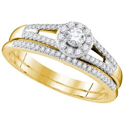 Genuine 0.33 CTW Diamond Bridal Set Ring 10KT Yellow Gold - GD109542-REF#62T9K