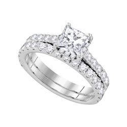 Natural 1.85 ctw Diamond Bridal Set Ring 14K White Gold - GD109861-REF#386F9M