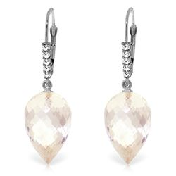 Genuine 24.65 ctw White Topaz & Diamond Earrings Jewelry 14KT White Gold - GG-4678-REF#61W2Y