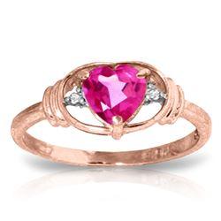 Genuine 0.96 ctw Pink Topaz & Diamond Ring Jewelry 14KT Rose Gold - GG-2142-REF#40V5W