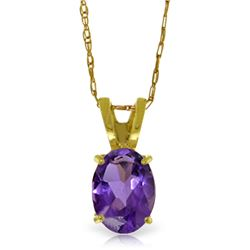 Genuine 0.85 ctw Amethyst Necklace Jewelry 14KT Yellow Gold - GG-1693-REF#15P4H