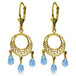 Genuine 3.75 ctw Blue Topaz Earrings Jewelry 14KT Yellow Gold - GG-1469-REF#43P8H