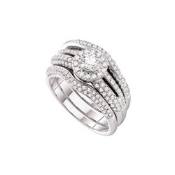 Natural 1.0 ctw Diamond Bridal Set Ring 14K White Gold - GD52309-REF#189A2N