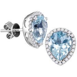 Genuine 1.46 CTW Aquamarine & Diamond Earrings 14KT White Gold - GD104935-REF#124G3M
