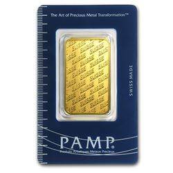 One pc. 1 oz .9999 Fine Gold Bar - PAMP Suisse New Design In Assay