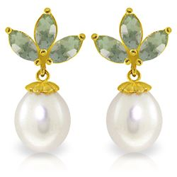 Genuine 9.5 ctw Green Amethyst & Pearl Earrings Jewelry 14KT Yellow Gold - GG-3061-REF#31M2T