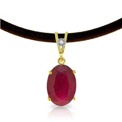 Genuine 7.71 ctw Ruby & Diamond Necklace Jewelry 14KT Yellow Gold - GG-4169-REF#84P2H