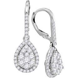 Genuine 1.37 CTW Diamond Earrings 14KT White Gold - GD104792-REF#232N9S