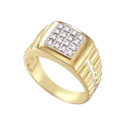 Genuine 0.25 CTW Diamond Men's Ring 10KT Yellow Gold - GD5357-REF#41R3H