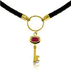 Genuine 0.50 ctw Ruby Necklace Jewelry 14KT Yellow Gold - GG-5047-REF#68V4W