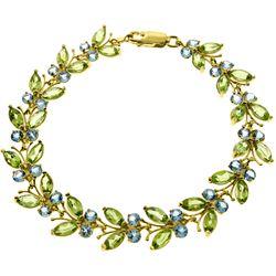 Genuine 16.5 ctw Blue Topaz & Peridot Bracelet Jewelry 14KT Yellow Gold - GG-2623-REF#179Z2N
