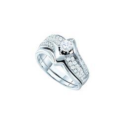 Natural 0.75 ctw Diamond Bridal Set Ring 14K White Gold - GD39196-REF#167H2R
