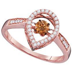 Genuine 0.35 CTW White & Cognac Diamond Ladies Ring 10KT Rose Gold - GD110217-REF#62T9K