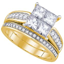 Natural 2.0 ctw Diamond Bridal Set Ring 14K Yellow Gold - GD86705-REF#368A9N
