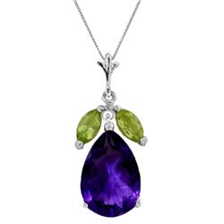 Genuine 6.5 ctw Amethyst & Peridot Necklace Jewelry 14KT White Gold - GG-1973-REF#38A2K