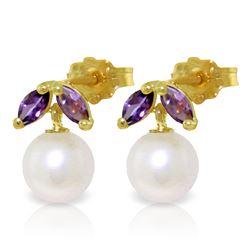 Genuine 4.4 ctw Pearl & Amethyst Earrings Jewelry 14KT Yellow Gold - GG-3073-REF#17K3V