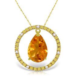 Genuine 6.6 ctw Citrine & Diamond Necklace Jewelry 14KT Yellow Gold - GG-2516-REF#52W9Y