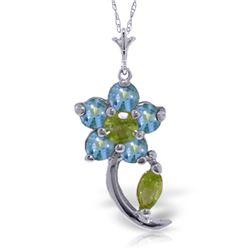 Genuine 0.87 ctw Blue Topaz & Peridot Necklace Jewelry 14KT White Gold - GG-4590-REF#25R4P