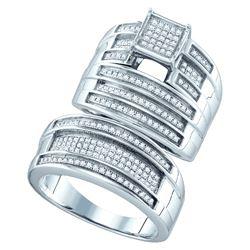 Genuine 0.62 CTW Diamond Trio Set Ring White Rhodium Silver - GD63029-REF#62W5G