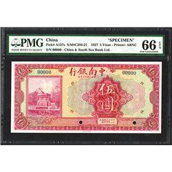 China & South Seas Bank, Ltd., 1927 Specimen Banknote.