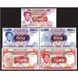 Bank of Uganda. ND 1985 and 1986 Issue. All Specimens.
