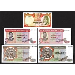 Zambia & Zaire Banknote Assortment.