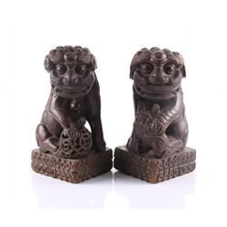 Antique pair of Japanese Foo Dogs, Foo Lion sculpture c