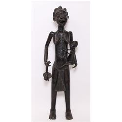 Very large African Benin bronze fertility sculpture, La