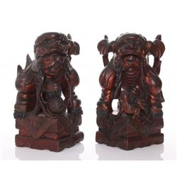 Two(2) 19th Century gesso gilt wood Foo Dogs with some