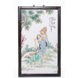 A rare and very large antique Japanese hand painted fam