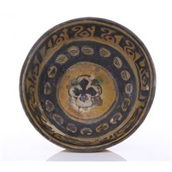 Ancient Persian glazed pottery bowl.  (Kashan) glazed p