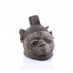 African Luluwa style wood helmet mask, Democratic Repub