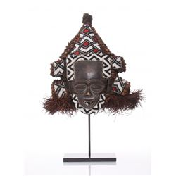 African Kuba, Lele Helmet Mask, Congo.  Lele masks are exceedingly rare in European