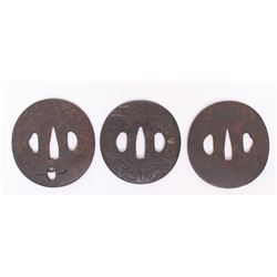 Three(3) 19th Century, Japanese Samurai Tsuba sword gua