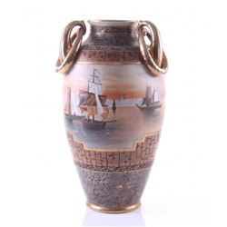 Vintage Japanese Nippon vase having gilt and polychrome